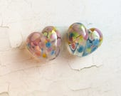 Handmade Lampwork Glass Heart Bead Pair - 'Pastel Hearts' SRA