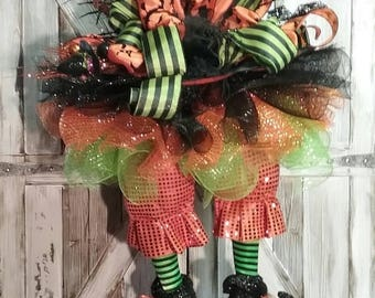 Fall Harvest Event Halloween Wreath, Witch Wreath, Witch Hat, FANCY PANTS #1 Witch Hat & Legs Tutu Hanging Witch Halloween Decoration