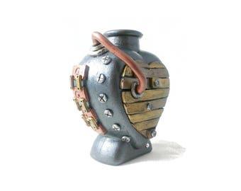 Steampunk Heart Vase, Industrial heart vase, industrial heart bottle