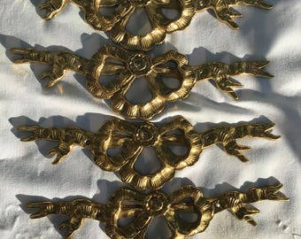 Brass Bows Decorative Piece Set of 4 Furniture Decals Upcycle Repurpose Brass
