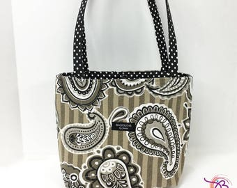 black an beige striped BAGOLITA with paisley accents