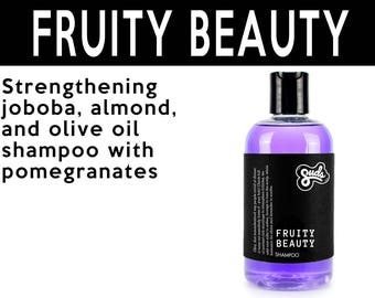 Fruity Beauty Shampoo. Fair Trade Organic Vegan Cruelty-Free Cosmetics. 5% of Proceeds Proudly Go To Grassroots Charities