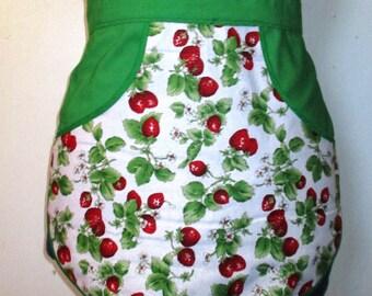 Strawberroes - Clothespin Apron, Gathering Apron, Farmhouse Classic