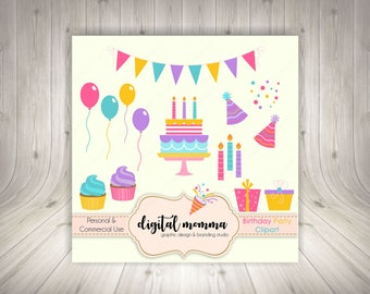 Birthday Party Clipart Set, Birthday Bash, .PNG, Personal & Commercial Use, Instant Download!