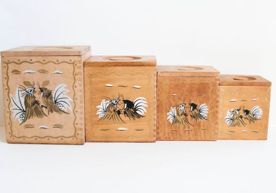 rooster kitchen canisters vintage wood rooster kitchen canisters black and gold chicken