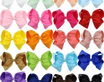 "8"" X-Large Big Hand-Made Hair Bow Solid Color Grosgrain"