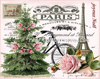 Shabby Paris Christmas Digital Graphic, Pink Christmas Digital, French Xmas, Noel, Printable Graphic Transfer Image 0104