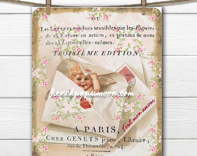 Victorian Valentine Digital Shabby Cherub, Roses, Valentine Letter, French Collage, Valentine Crafts, Large Image,Valentine Pillow Image
