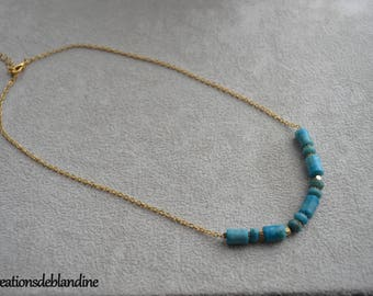 """Byzantine"" blue and gold plated Jasper necklace"
