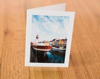 Nyhavn, Copenhagen, Travel Photo Card with envelope, Blank Inside