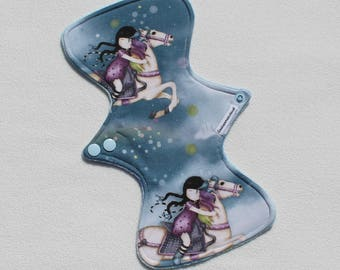 "Bamboo Velour Topped. Reusable Modern Cloth Pad featuring a whimsical print (26cm/10.25"")"