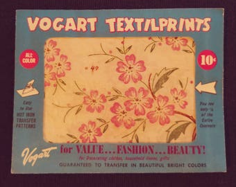 No. 49  Vogart Textilprints.  All Color Washable. Unused. Floral Themed.