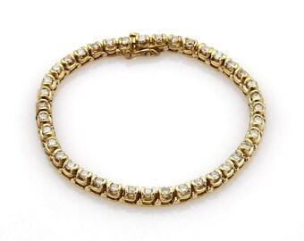 18047 - Estate 1.20ct Diamond Tennis Bracelet in 14k Yellow Gold