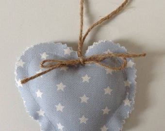 Door hanger Handmade fabric hanging heart Baby blue and white star 100% cotton heart Gift Birthday Home Decor
