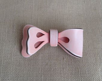 """1980's pink """"bow"""" brooch"""