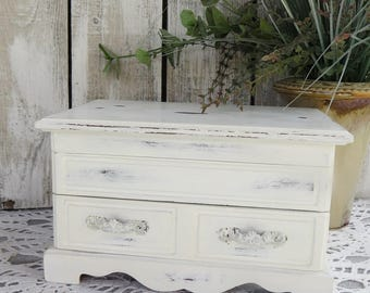 Shabby Chic Jewelry Box Antique White - Painted Jewelry Box - Vintage- Music Box