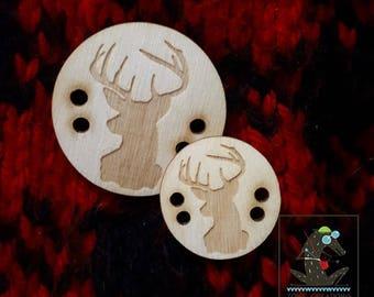 deer motif button, wood button