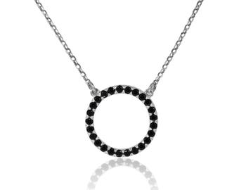 Open circle pendant necklace, 14K White Gold, black diamonds, 0.80 CTW, eternity necklace, birthday present, open circle necklace
