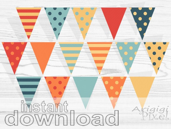 printable banner, autumn banner, polka dot & striped pennant, red orange party bunting banner, digital download, ready to print