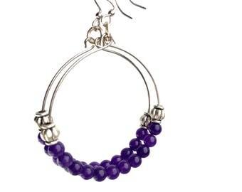Purple Hoop Earrings, Purple boho earrings, Purple beaded earrings, Purple earrings