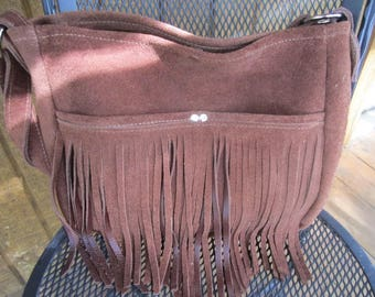 Chocolate Brown,  medium size purse with delicious Suede side out and leather interior. #409