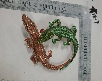 Vintage used  Alligator rhinestone  pin brooch