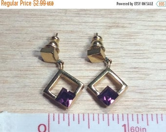 10% OFF 3 day sale Gold Toned Stud Earrings With Purple Stone Gently Used