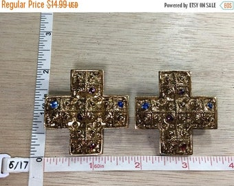 10% OFF 3 day sale Vintage Gold Toned Cross Clip On Earrings Blue Purple Red Rhinestones Used