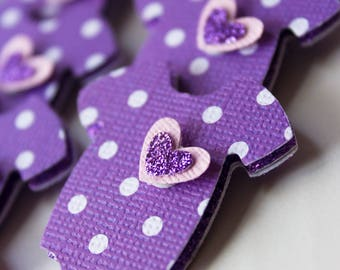 Onesie Baby Shower Cupcake Toppers - Cupcake Toppers - Lavender Polka Dot Cupcake Topper - Baby Shower Table Confetti - 24pc.