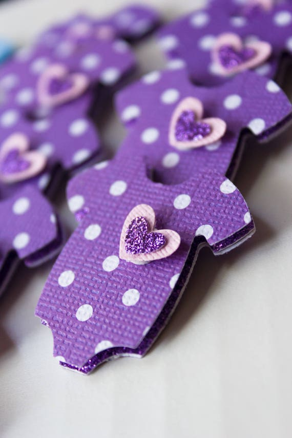 24 Purple Baby Shower Cupcake Toppers - Purple 3 Dimensional Toppers - Lavender Polka Dot Cupcake Topper - Purple Onesie with Layered Heart