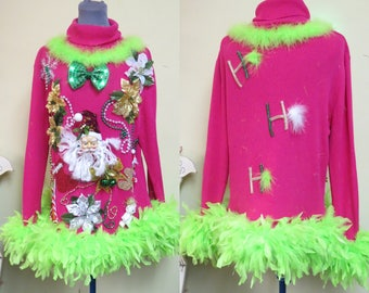 festive fun pink tacky ugly christmas sweater foo foo feather trim light up bow tie - Light Up Christmas Tie