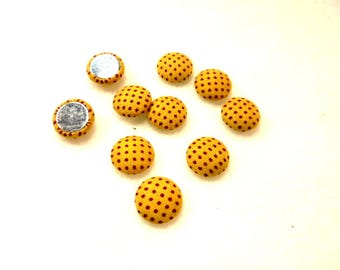 10 cabochon, fabric, 12mm, yellow / red