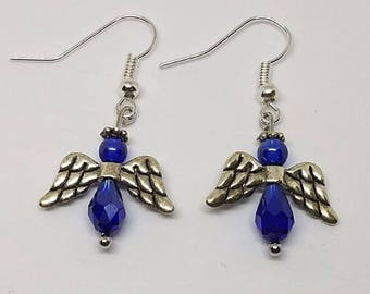 Earrings - Blue and Pewter Angel