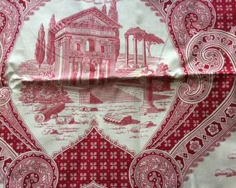 "Vintage Red & White Toile Print Decorator Fabric  // 36x28"" > Greco-Roman Buildings, ornate"