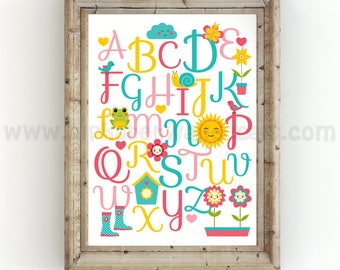 Alphabet Poster - Nursery Wall Art - Playroom Poster - Alphabet Wall Art - Alphabet Nursery Art - Alphabet Nursery - Nursery Art - 22-0009