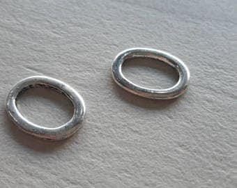 clearance * 4 connectors oval ring, silver, for jewelry making