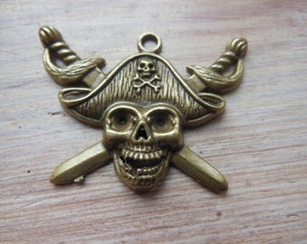 Bronze pirate pendant, jewelry or scrapbooking