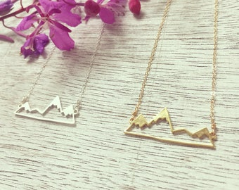 Alaska Necklace, Alaska Love Necklace, Mountain Necklace