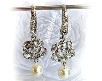 Pearl bridal earrings, rose charm bridal dangle earrings, wedding bridal jewelry