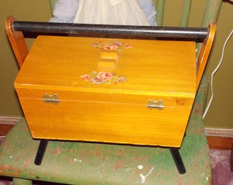 vintage wood footed sewing box double door