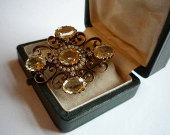 Antique Victorian Faceted Citrine 10K Rose Gold Diamond Seed Pearl Ornate Brooch Pin