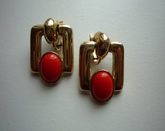Vintage Bergere Gold Tone Red Lucite Cabochon Clip On Earrings