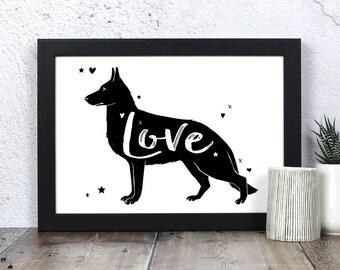 German Shepherd Dog 'Love' Print