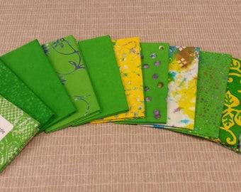 Batik textiles fat 1/8 bundle of 11 in green and yellow