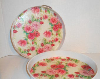 French Country Style Round Tin Trays - Set of Two