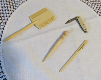 French Ivory, Ivory or Celluloid pieces; 1920's ivory pieces;