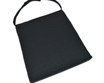 Universal Chair Seat Foam Cushion Trapezoid w/ Velcro Strap - Solid Black