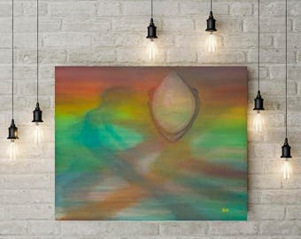 Abstract oil painting rainbow colors wall art Oil painting Canvas painting Original painting Abstract art Abstract figures 16x20 fantasy art