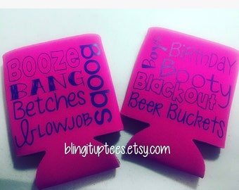 Bachelorette Party Favorite B words Custom Can Cooler