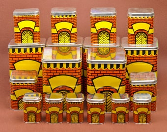 HUGE set of Vintage Polka Dot TIN Cans made by soviets. Set of 18! Ussr made beautiful yellow kitchen tin boxes. UNUSED in orginal packaging